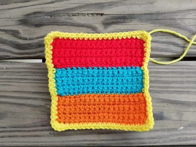 three crochet rectangles made into a six-inch crochet square