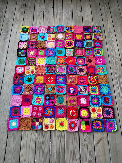 ninety-nine rehabbed five-inch crochet squares
