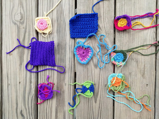 crochet remnants to be rehabbed into five inch crochet squares