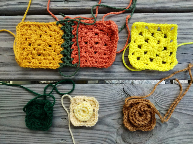 six crochet remnants to be rehabbed into five-inch crochet squares