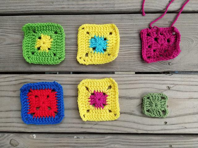 six crochet squares in need of crochet rehab