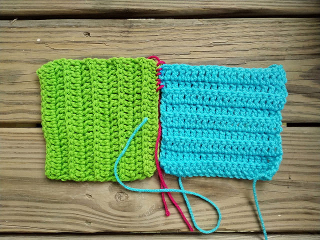 Two six-inch textured crochet squares