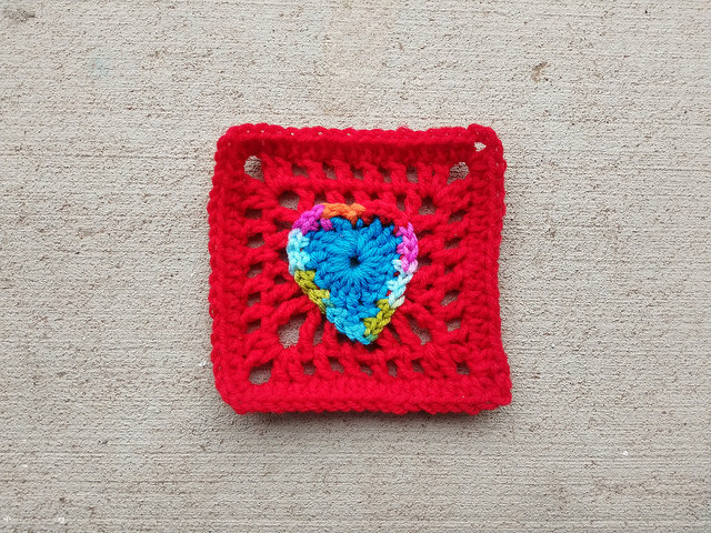A two round boho crochet heart rehabbed into a crochet square
