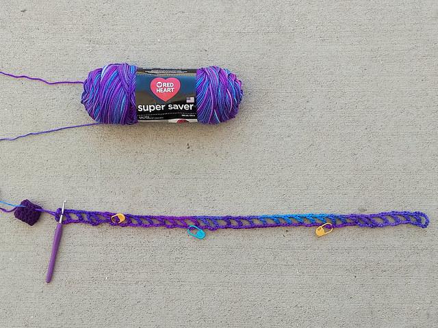The start of a crochet French market bag grape fizz extravaganza