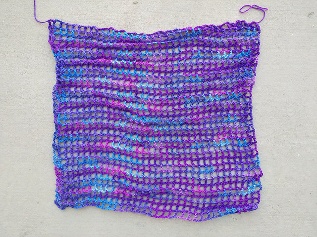 Thirty-four crochet rows by thirty four crochet rows of my grape fizz extravaganza