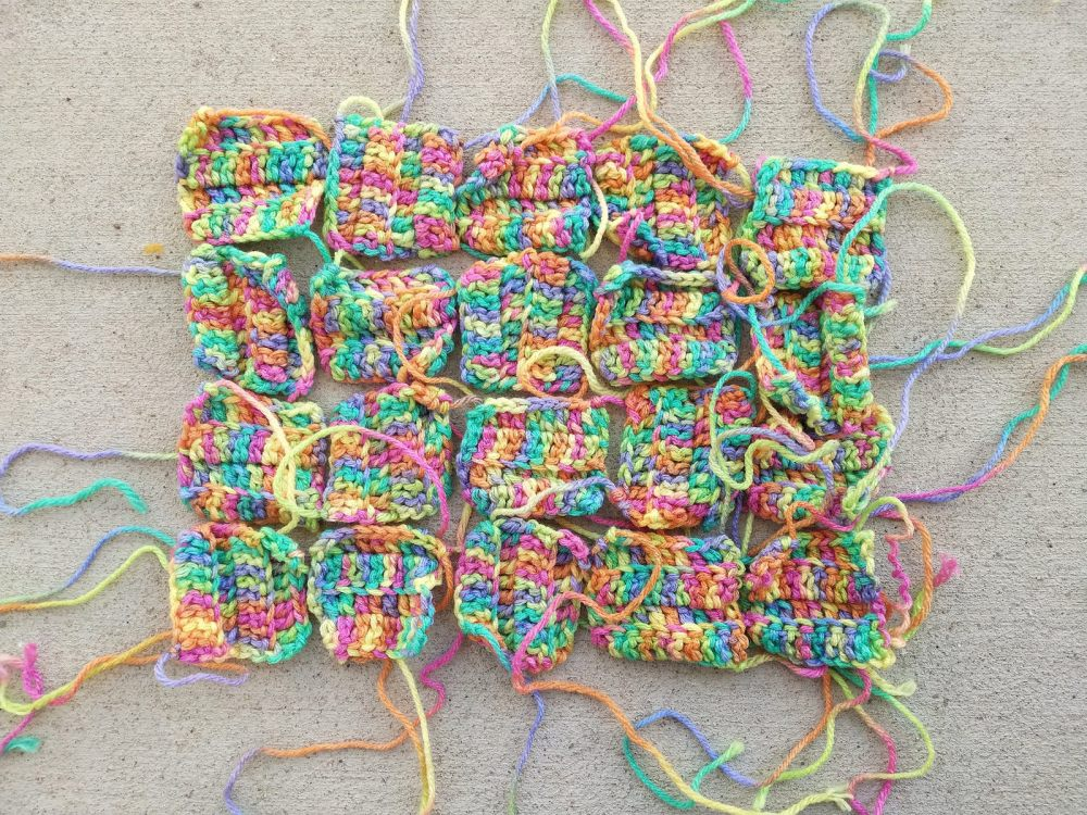 Twenty additional crochet remnants from a long abandoned project