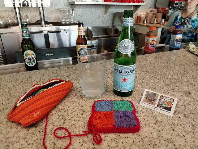 Weaving in ends at the Café Carnegie