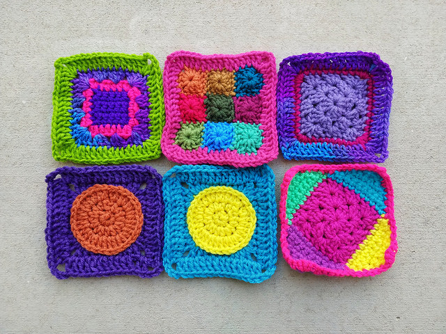 Six more five-inch crochet squares rehabbed from crochet remnants in my quest to declutter
