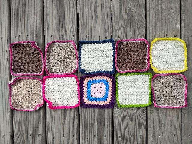 Ten six-inch rehabbed crochet squares
