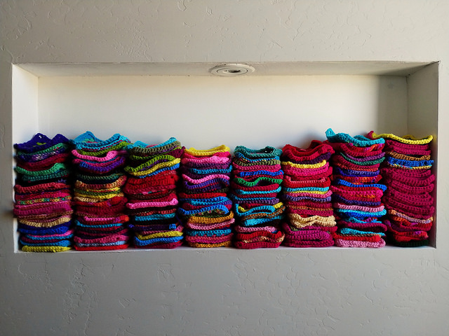 The nook of transformed crochet remnants gets a little bit fuller