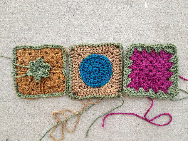 Three more crochet squares rehabbed and ready for adventure