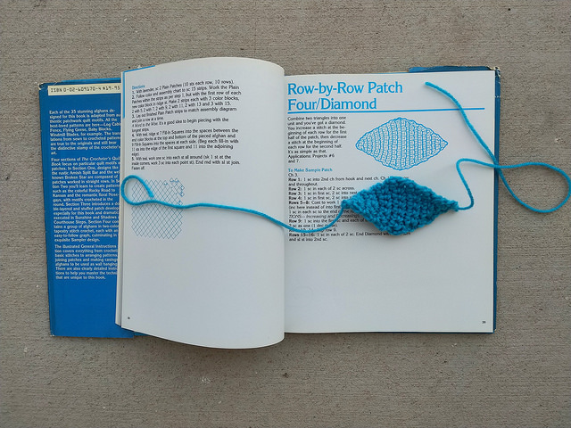 A crochet diamond that intrigued me worked in blue