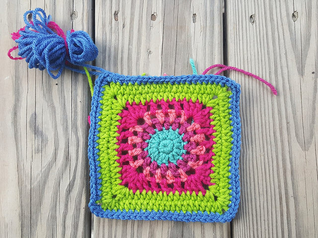 A six-inch crochet square for a new crochet purse