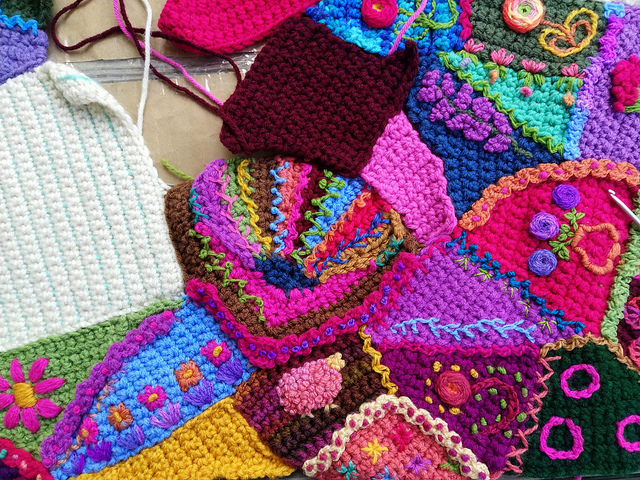The same section of the crochet crazy quilt pattern three hours later