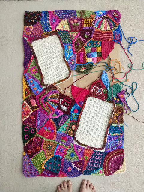 An overview of my progress on the crochet crazy quilt panel as of September 16, 2018