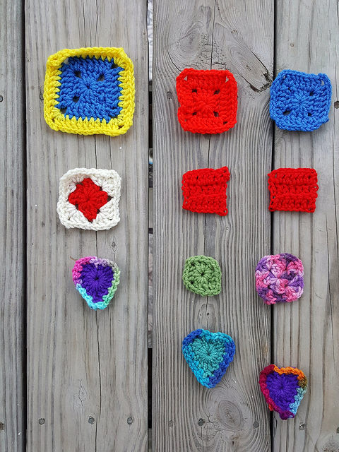 Eleven crochet remnants with the ends woven in