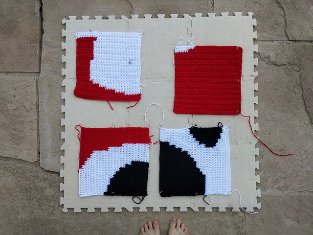 I try blocking some of the completed crochet squares