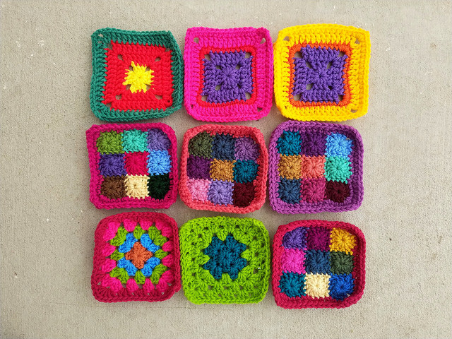 Nine crochet remnants rehabbed and ready for adventure