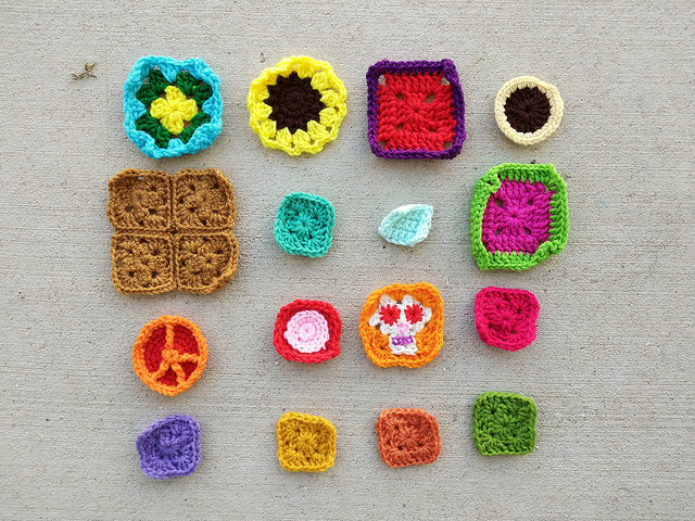 Sixteen crochet remnants ready for rehab