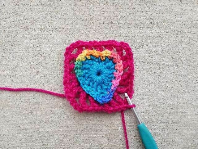 Squaring off a boho crochet heart