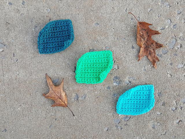 Three single crochet squares ready for rehab