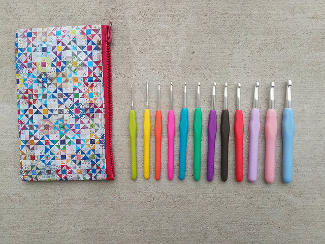 My new crochet hooks with a case to keep them travel ready at all times