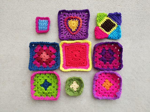 An almost completed nine patch of rehabbed crochet remnants