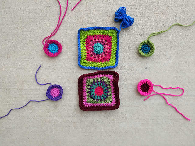 Progress on the granny squares for a crochet purse