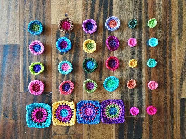 The same crochet pieces with the ends woven in and trimmed
