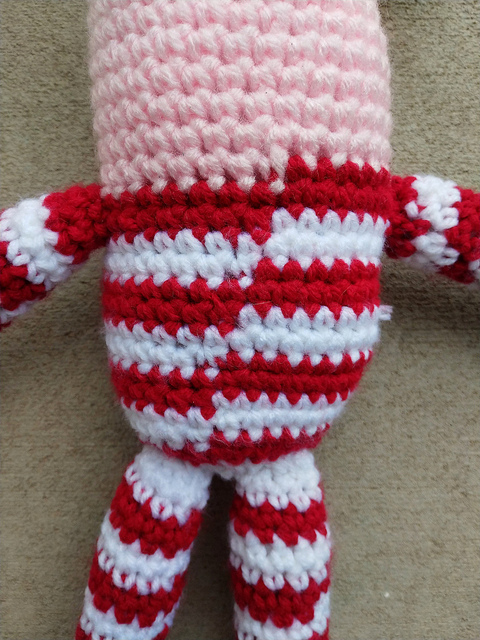 Where the colors changed for the crochet stripes in an unapologetically crochet join
