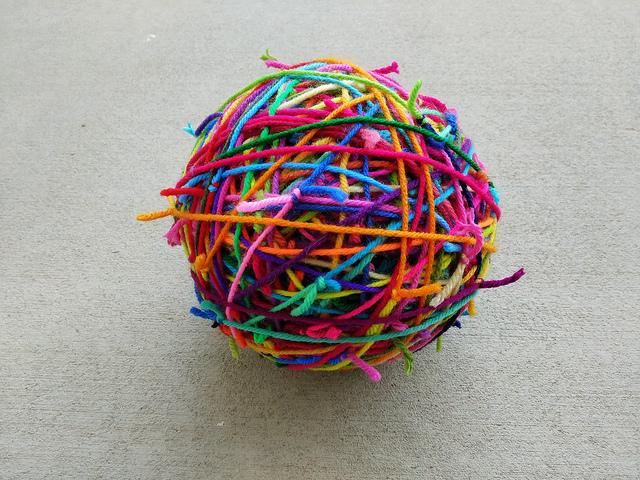 Magic scrap yarn ball