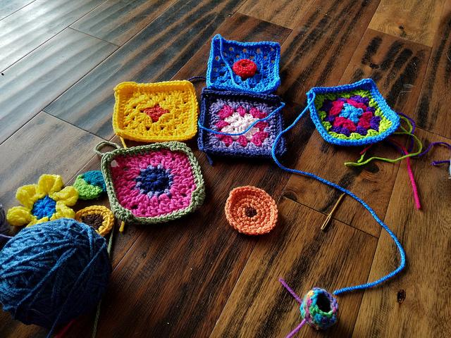 Progress on my front burner crochet remnant rehab