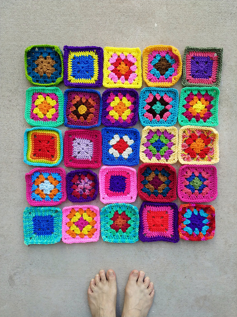 A five by five array of rehabbed crochet remnants