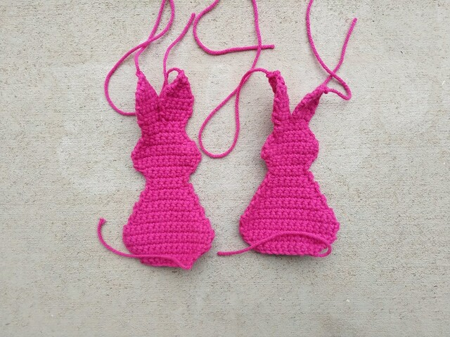 The front and back of a future small crochet bunny