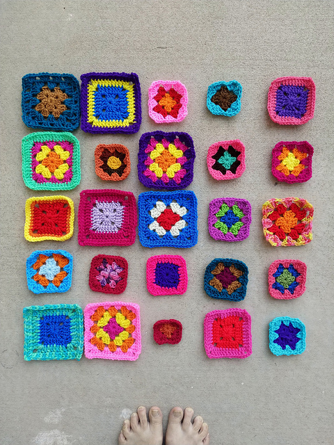 The same twenty-five future crochet squares with the ends woven in