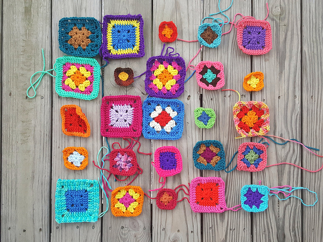 Twenty-five future five-inch squares rehabbed from crochet remnants that had been in a box of crochet