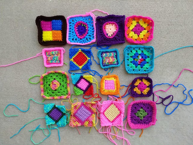The same sixteen crochet remnants after another round of rehab