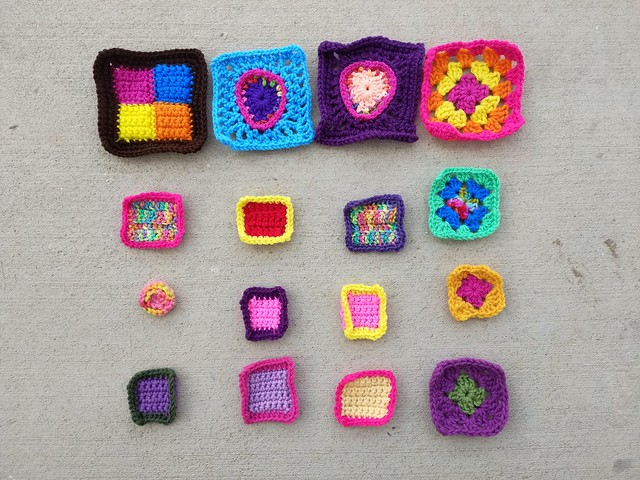 The same sixteen crochet remnants ready for the next round of rehab