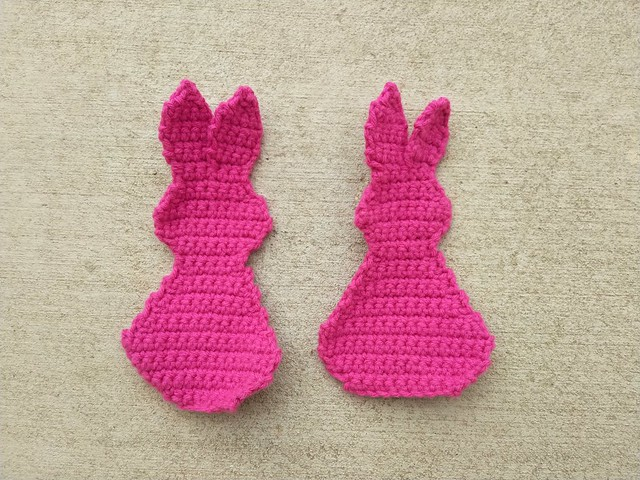 Two bunny halves ready to be joined