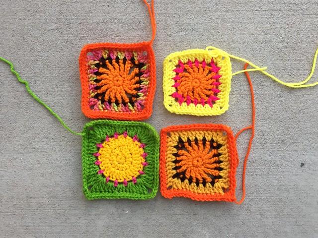 Four former crochet circles becoming crochet squares