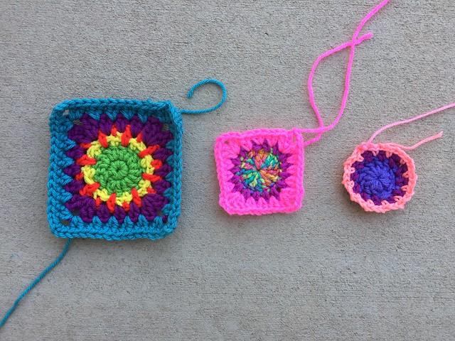 Three crochet circles becoming crochet squares