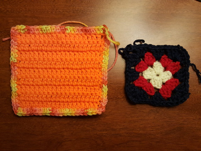 Two crochet remnants being rehabbed