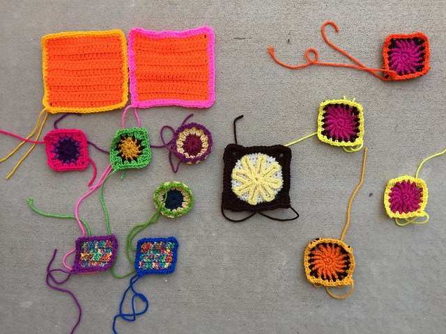Thirteen crochet remnants after another round of rehab