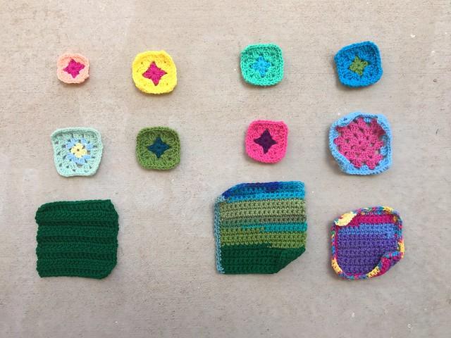 Eleven crochet remnants in mid-rehab