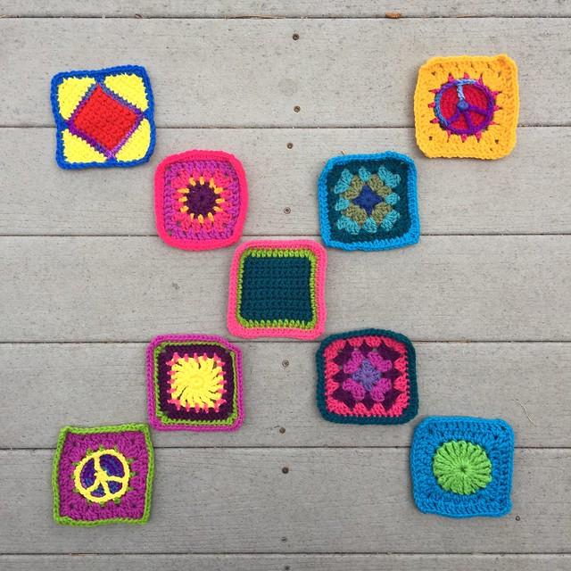 Nine crochet remnants transformed into squares