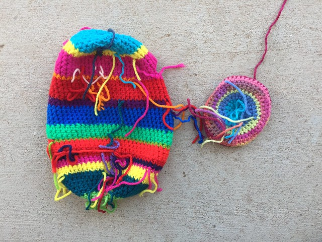 A crochet monster with endless ends to be woven in