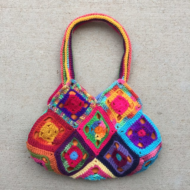 The other side of the Flamboyant granny square purse that I entered in the 2019 New Mexico State Fair