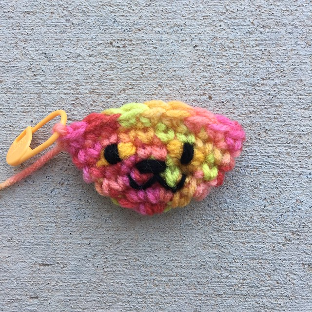 A hurry up crochet cat with an embroidered face