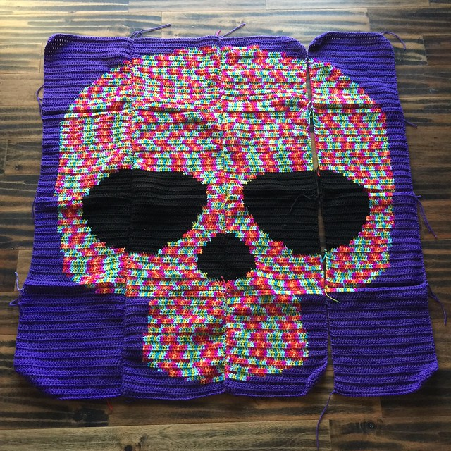 The second Day of the Dead yarn bomb with four feet of seaming needed to finish it