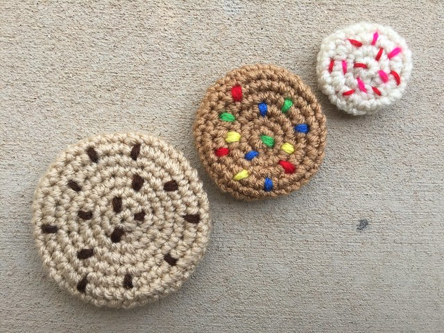"""Three crochet cookies that I made the day before my """"day trip"""""""